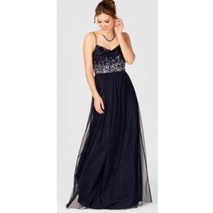 Adrianna Papell Sequin Tulle Maxi Dress Gown NWT
